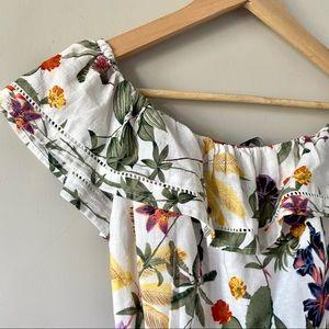 linen dress, floral print off shoulder ruffle